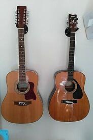 Yamaha FG-401 acoustic guitar and Godman 12 string guitar