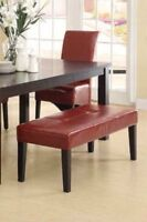 RED LEATHER LOOK BENCH WITH DARK BROWN WOOD FEET