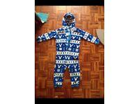 Boys blue zoo fleece onesie
