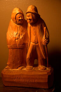 FOLK ART OLD COUPLE....MAN WITH WALKING STICK