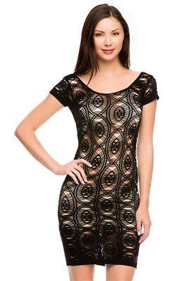 Sexy Black Seamless Textured Net Fitted Cut Out Mini dress O/S 0-8 best Nwts - Best Halloween Dress