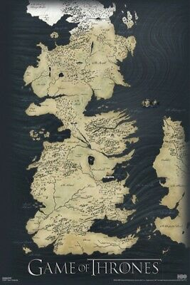 Game Of Thrones   Map Of The Seven Kingdoms   24X36 Tv Poster George R R  Martin