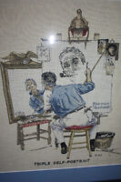 Norman Rockwell's Triple Self-Portrait Crosstitched and  Framed