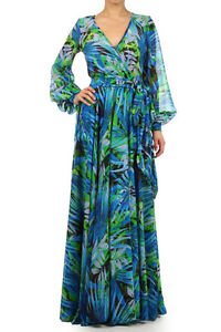 FULL SWEEP Sheer Chiffon MAXI DRESS Long Sleeve BOUTIQUE Skirt Cruise Resort