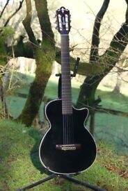 Crafter CT125C/BK Nylon String Electro-Acoustic Crossover Guitar + CNB Gig Bag