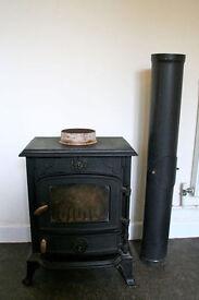 Cast Iron Multi-Fuel Wood Burning Stove with Flue