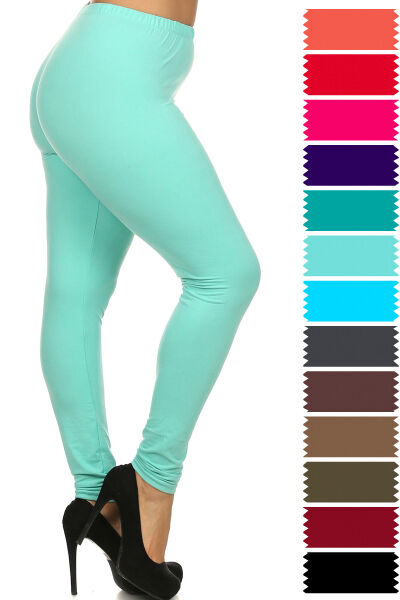 Leggings - New COLOR B Plus Size One Size Solid Plain Full Long Leggings Stretch XL-3XL 128