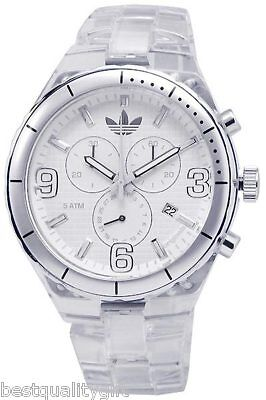 NEW ADIDAS SPECTATOR CHRONOGRAPH ACRYLIC CLEAR WATCH ADH2516