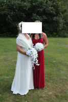 2 pcWedding Dress and 2 Bridesmaid dresses/ brides silk bouquets