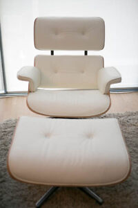 Reproduction Eames Lounge Chair + Ottoman - White/Walnut