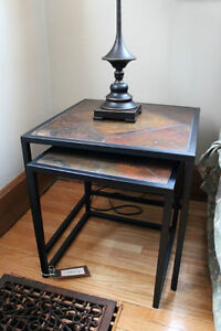 Two Tiled-Top/Metal Frame Stacking Tables