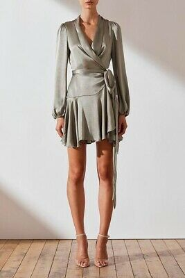 Shona Joy Joan Wrap Mini Dress Sage Green Satin Tie Waist Size 2 US
