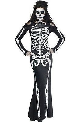 Skull Halloween Costumes For Women (Women Skull Long Skeleton Dress Adult Halloween Costume Long Sleeve Sexy)