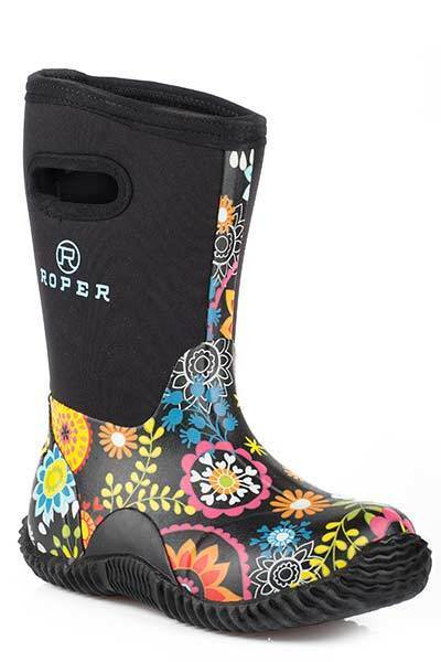 Roper Childs Kids Rubber Floral Printed Tall Waterproof Rubb