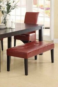 RED BONDED LEATHER ACCENT BENCH 48INCH FOR ONLY 125$