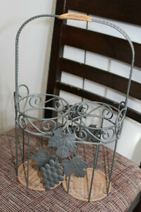 Wicker and metal wine holder