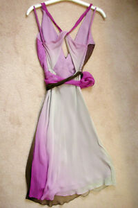 BCBG MAX AZRIA Ombre Chiffon Dress Purple White Brown! WOW! Windsor Region Ontario image 3