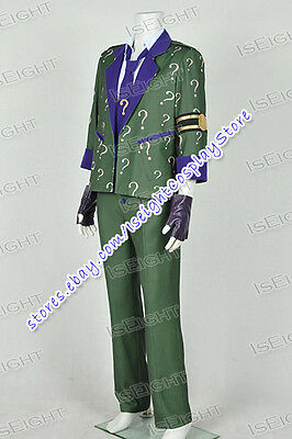 Arkham City The Riddler Dr Edward Nigma Cosplay Costume Suit In - Riddler Suit Costume