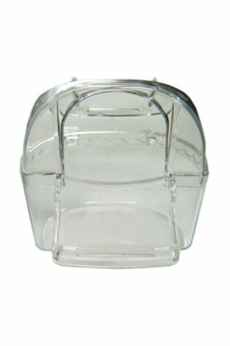 3 Bird Cage Hopper Covered Feeder Feeding Cups Perch Clear Plastic Acrylic 3""