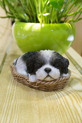 SHIH TZU PUPPY IN WICKER BASKET  Figurine Decoration Gift Resin 6.5 NEW DOG