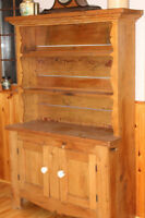 Antique Primitive Pine Dish Cupboard