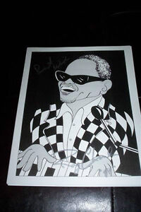 RAY CHARLES , GEORGIA SIGNÉ RAY CHARLES COMIQUE RARE