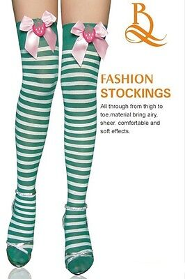 IRISH ST PATRICKS DAY GREEN AND WHITE STRIPED STOCKINGS FANCY DRESS ACCESSORY