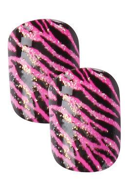 Cala x2 Little Miss Pre-Glued/Press-On Nail Set in Pink Zebra & Glitters (87879) Pink Miss Zebra