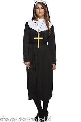 NEU Damen traditionell Katholische Nonne religiös Kostüm Kleid Outfit