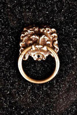 latón soporte de cabeza de León con anilla estilo imperio
