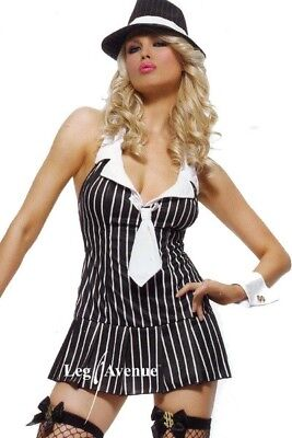 Leg Avenue Miss Mafia Fancy Dress Costume Outfit 1920s Gangsters Moll UK 12-14 - Gangster Halloween Costumes Uk