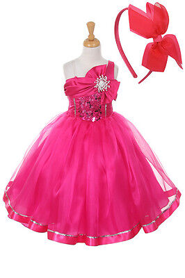 New  Flower Girls Fuchsia Hot Pink Dress Pageant Easter Christmas + Free HB - Girls Hot Clothes