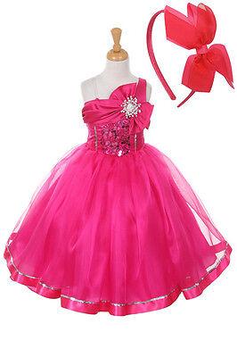 New  Flower Girls Fuchsia Hot Pink Dress Pageant Easter Christmas + Free - Flower Girl Dresses Hot Pink