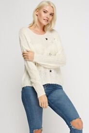Embroidered Star Knitted Jumper one size 8-14