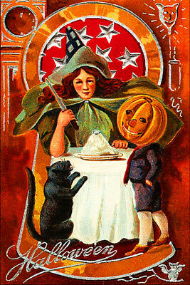 Vintage Halloween Fridge Toolbox Magnet (2 x 3) Classic Witch Cat Pumpkin Boy - Vintage Classic Halloween