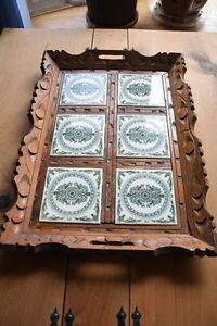 VINTAGE/ANTIQUE WOOD & TILE SERVING TRAY Kingston Kingston Area image 1