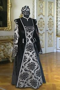 Regal-Renaissance-Tudor-Costume-Gown-Medieval-Dress-Handmade-From-Brocade-Velvet
