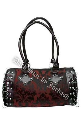 DARK STAR BLACK AND RED GOTHIC BROCADE HAND BAG Brocade Red Bag