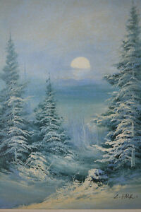 "WINTER SCENE OIL ON CANVAS PAINTING 22"" X 26"" SIGNED Gatineau Ottawa / Gatineau Area image 2"