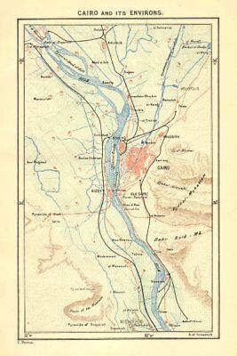 EGYPT. Cairo area c1885 old antique vintage map plan chart