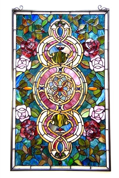 "Tiffany Style Stained Glass Window Panel Floral Medallion Design 20"" W X 32"" L"