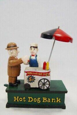 Spardose Hot Dog Stand Nostalgie Gusseisen Eisen Figuren Mechanisch Deko Lustig (Hot Dog Dekorationen)