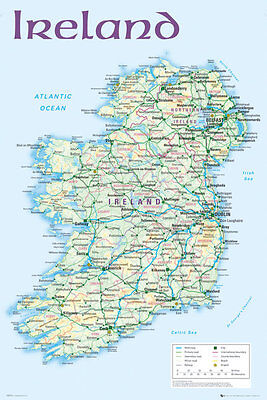 Map of Ireland Maxi size 91.5 x 61cm (36in X 24in) Poster Education School Aid