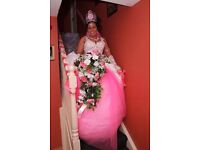 WEDDING DRESSES SET ,GLOVES ,FLOWERS