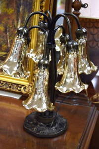 7 Light Trumpet Style Lamp on a Brushed Bronze Base with Glazed