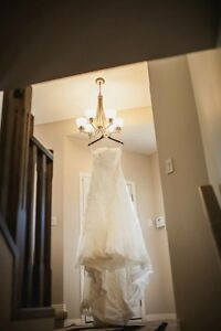 Bonny sweetheart lace wedding dress with sash and veil for sale