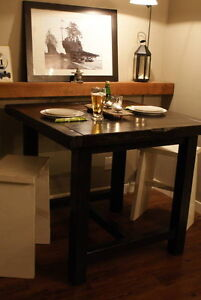 Rustic Dining Table Pub/Counter Height, All Solid Wood. By LIKEN Woodworks!