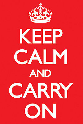 KEEP CALM AND CARRY ON Poster ~ Medium Size 16x20 (Keep Calm And Carry On Poster)