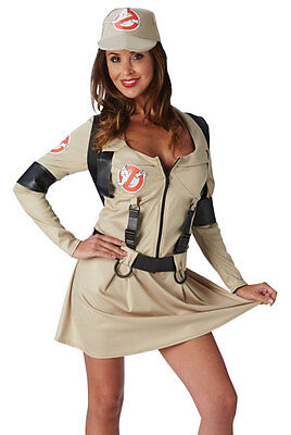 Ladies Sexy Ghostbusters Ghost Buster Halloween Fancy Dress Costume Outfit 6-18