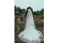 Justin Alexander wedding dress, veil and belt